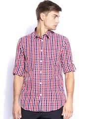 Arrow Sport Men Red & Navy Checked Hudson Semi-Slim Fit Casual Shirt