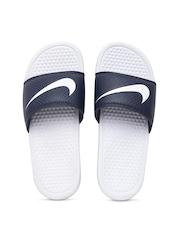 Nike Men Navy & White Benassi Swoosh Flip-Flops