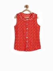 Allen Solly Junior Girls Red & White Bird Printed Shirt