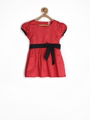 Tickles Girls Red Polka Dot Printed Fit & Flare Dress