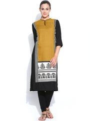 W Women Mustard Yellow & Black Printed Kurta