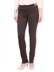 Women Brown Skinny Fit Formal Trousers Kaaryah