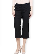 Women Black Bootcut Relaxed Fit Cropped Formal Trousers Kaaryah