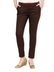 Women Brown Slim Fit Formal Trousers Kaaryah