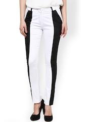 Women White & Black Straight Fit Trousers Kaaryah