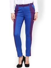 Women Purple & Blue Straight Fit Trousers Kaaryah