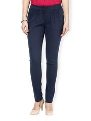 Women Blue Slim Fit Formal Trousers Kaaryah