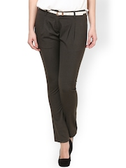 Women Olive Green Relaxed Fit Trousers Kaaryah