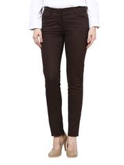 Women Brown Straight Fit Formal Trousers Kaaryah