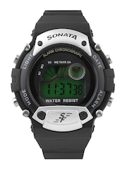 Sonata Men Black Digital Watch NG7982PP02J