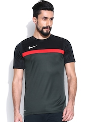 Nike Men Black & Grey ACADEMY SS TRAINING TOP 1 Football T-shirt