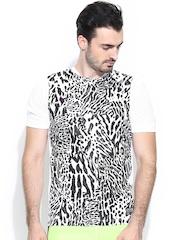 Nike Men White & Black GPX SS Flash Printed Football T-shirt