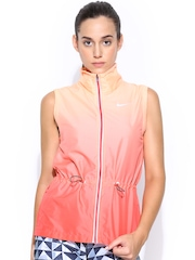 Nike Women Orange Gradient Vest Ombre Sleeveless Running Jacket