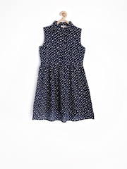 Genes Girls Navy Printed Fit & Flare Dress