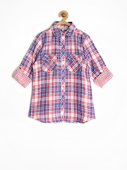 Genes Girls Coral Pink & Blue Checked Shirt