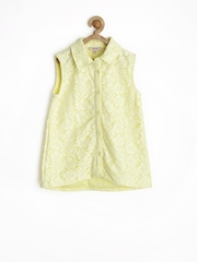 Genes Girls Yellow Floral Lace Shirt