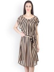 Tops and Tunics Beige & Black Striped Midi Dress