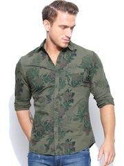 United Colors of Benetton Men Olive Green Printed Casual Shirt