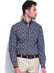 Black Coffee Men Navy & White Printed Smart Casual shirt