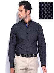 Black Coffee Men Black Printed Slim Fit Semiformal Shirt