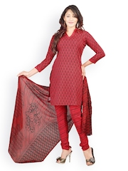 Lookslady Red Crepe Unstitched Dress Material
