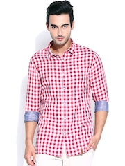 Blackberrys Men Red & White Checked Trim Fit Casual Shirt