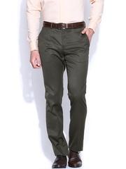 Blackberrys Men Olive Green Sharp Fit Formal Trousers