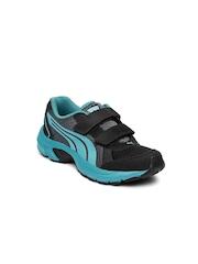 PUMA Kids Black & Blue Axis Velcro DP Running Shoes