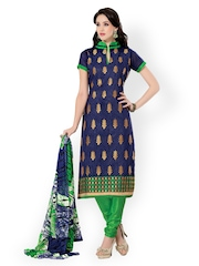 Riti Riwaz Blue & Green Chanderi Cotton Unstitched Dress Material