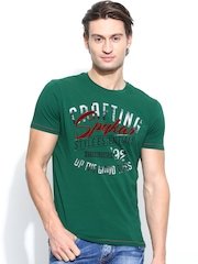 SPYKAR Men Green Printed T-shirt