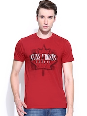 Guns & Roses Men Red Printed T-shirt