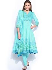 BIBA Women Blue Printed Anarkali Churidar Kurta with Dupatta
