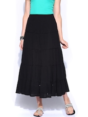 BIBA OUTLET Black Flared Maxi Skirt