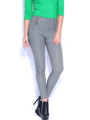 Miss Chase Women Grey Retro High Waist Jeggings