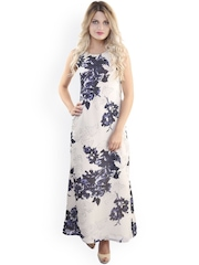 Belle Fille Cream-Coloured & Blue Polyester Georgette Maxi Dress