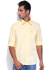 Burnt Umber Men Yellow Slim Fit Casual Shirt