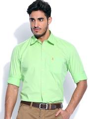 Burnt Umber Men Pistachio Green Slim Fit Smart Casual Shirt