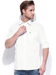 Burnt Umber Men White Slim Fit Casual Shirt