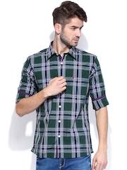 Burnt Umber Men Green & White Checked Slim Fit Casual Shirt
