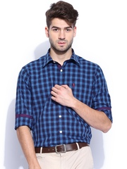 Burnt Umber Men Blue & Off-White Checked Slim Fit Smart Casual Shirt