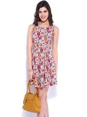 DressBerry Pink & Off-White Printed Flare Berry Dress