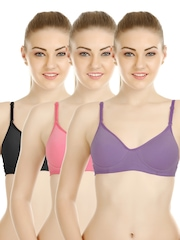 Tweens Pack of 3 Full Coverage T-shirt Bras TW-1301-BL-DPK-DPR