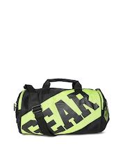Gear Unisex Black & Green Printed Duffle Bag