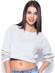Miss Chase Grey Melange Oversized Crop Top