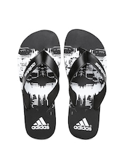Adidas Men Black & White Beach Printed Flip-Flops