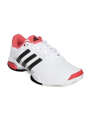 Adidas Men White Barricade Team 4 Tennis Shoes