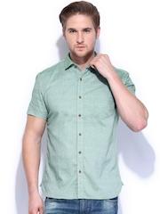 Highlander Men Green Slim Fit Casual Shirt
