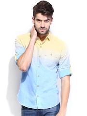 Locomotive Men Yellow & Blue Linen Slim Fit Casual Shirt
