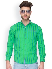 Mufti Men Green Striped Casual Shirt