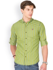 Mufti Men Olive Green Striped Casual Shirt